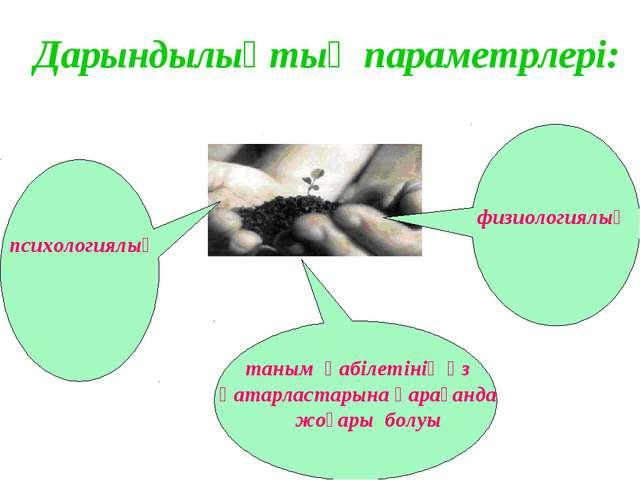 Дарындылықтың параметрлері: таным қабілетінің өз қатарластарына қарағанда жоғ...