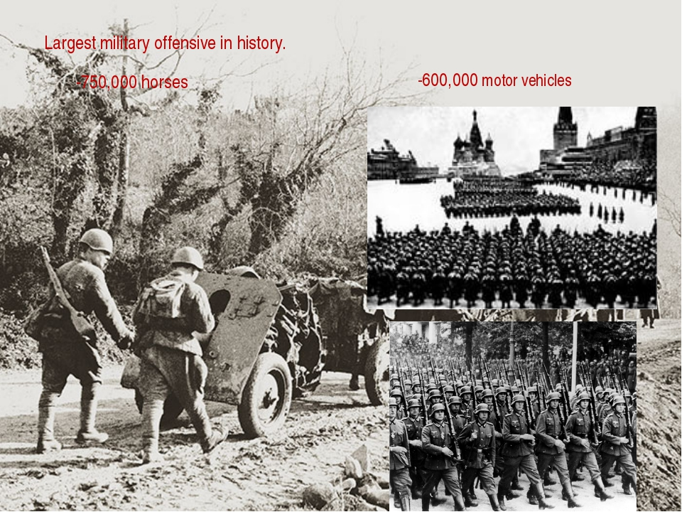 Largest military offensive in history. -600,000 motor vehicles -750,000 horses
