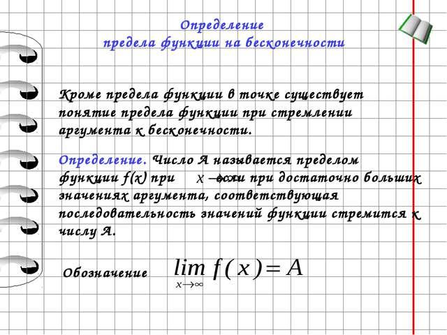 Определение предела функции на бесконечности Кроме предела функции в точке су...