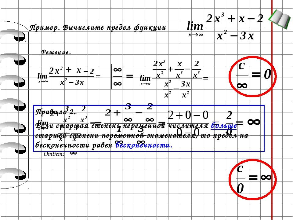 Пример. Вычислите предел функции Решение. Ответ: Правило 2. Если старшая степ...