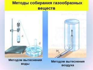 Методы собирания газообразных веществ Методом вытеснения воды Методом вытесн