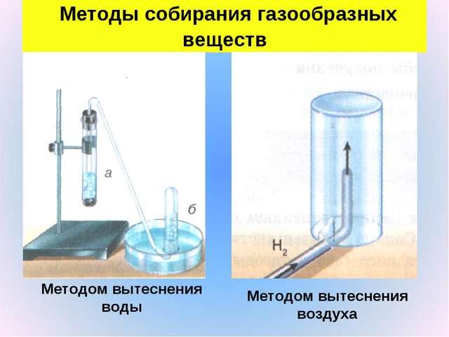 Методы собирания газообразных веществ Методом вытеснения воды Методом вытесн...