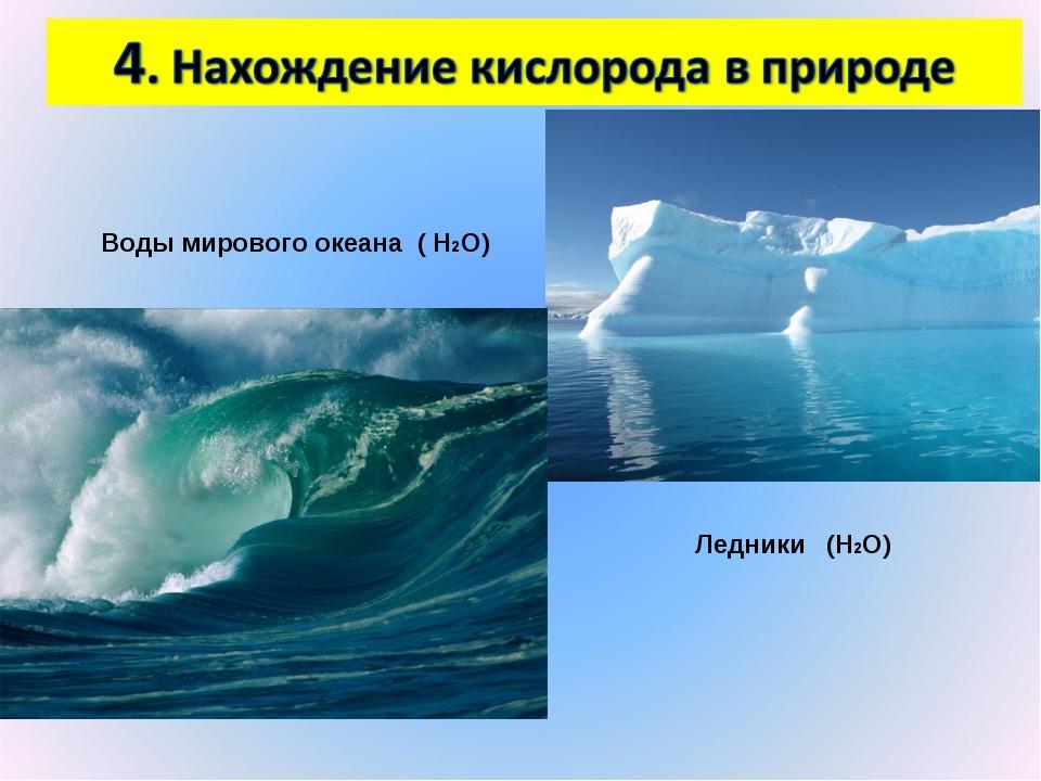 Воды мирового океана ( Н2О) Ледники (Н2О)