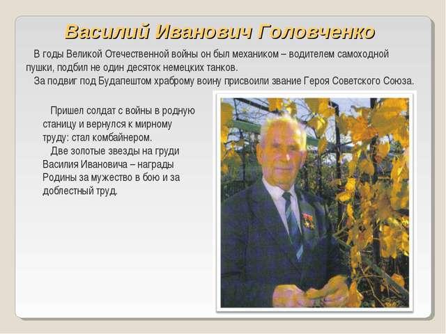 Василий Иванович Головченко В годы Великой Отечественной войны он был механик...