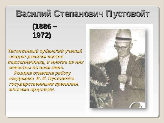 Василий Степанович Пустовойт Талантливый кубанский ученый создал десятки сорт...