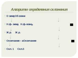 Алгоритм определения склонения О зимеОб осени Н.ф.- зима Н.ф.-осень