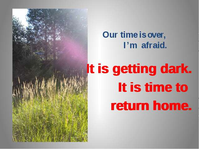 Our time is over, I'm afraid. It is getting dark. It is time to return home....