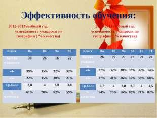 Эффективность обучения: 2012-2013учебный год успеваемость учащихся по географ
