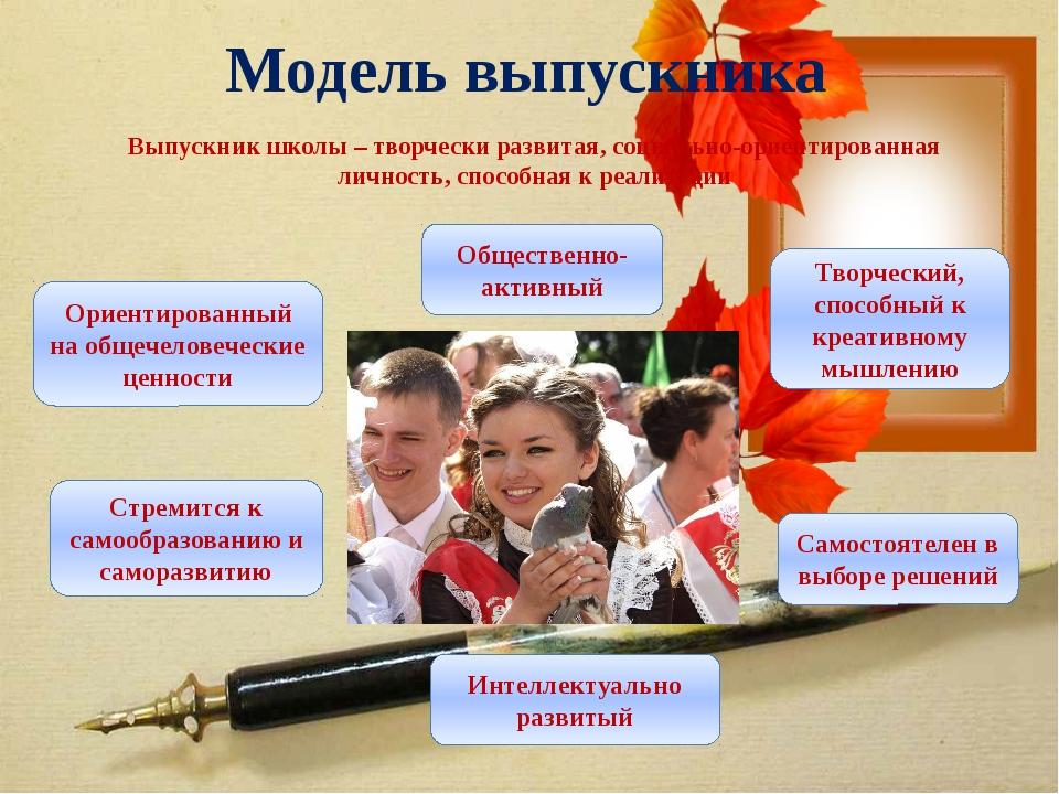 Модель выпускника Выпускник школы – творчески развитая, социально-ориентирова...