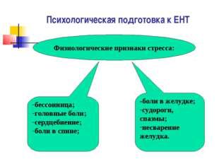 Психологическая подготовка к ЕНТ Физиологические признаки стресса: бессонница