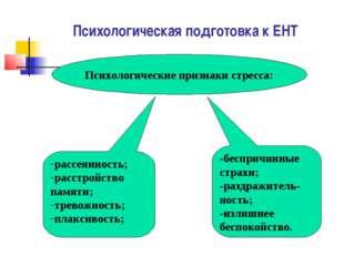 Психологическая подготовка к ЕНТ Психологические признаки стресса: рассеяннос
