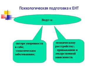 Психологическая подготовка к ЕНТ Ведут к: потере уверенности в себе; соматиче