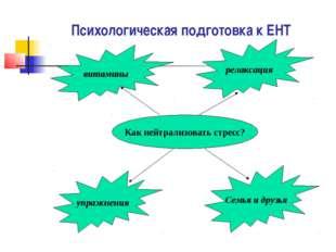 Психологическая подготовка к ЕНТ Как нейтрализовать стресс? витамины упражнен