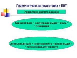Психологическая подготовка к ЕНТ Управление ритмом дыхания Короткий вдох + дл
