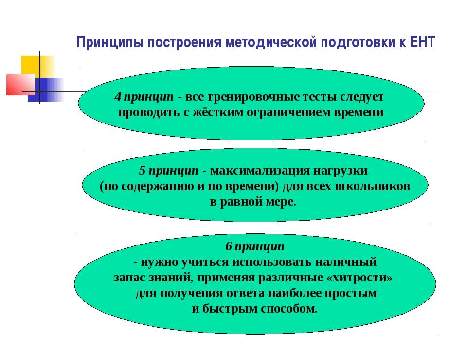 Принципы построения методической подготовки к ЕНТ 4 принцип - все тренировочн...