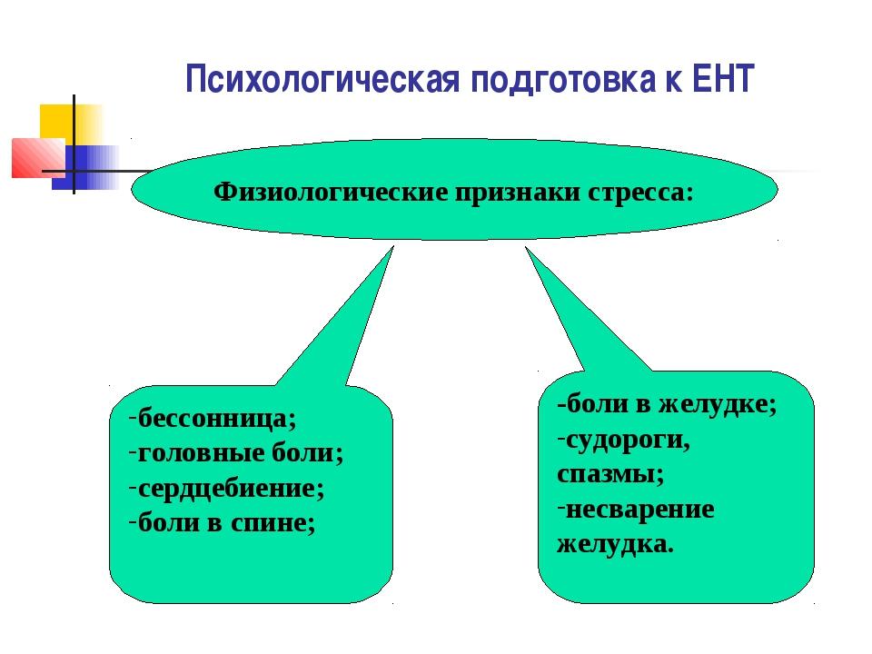 Психологическая подготовка к ЕНТ Физиологические признаки стресса: бессонница...