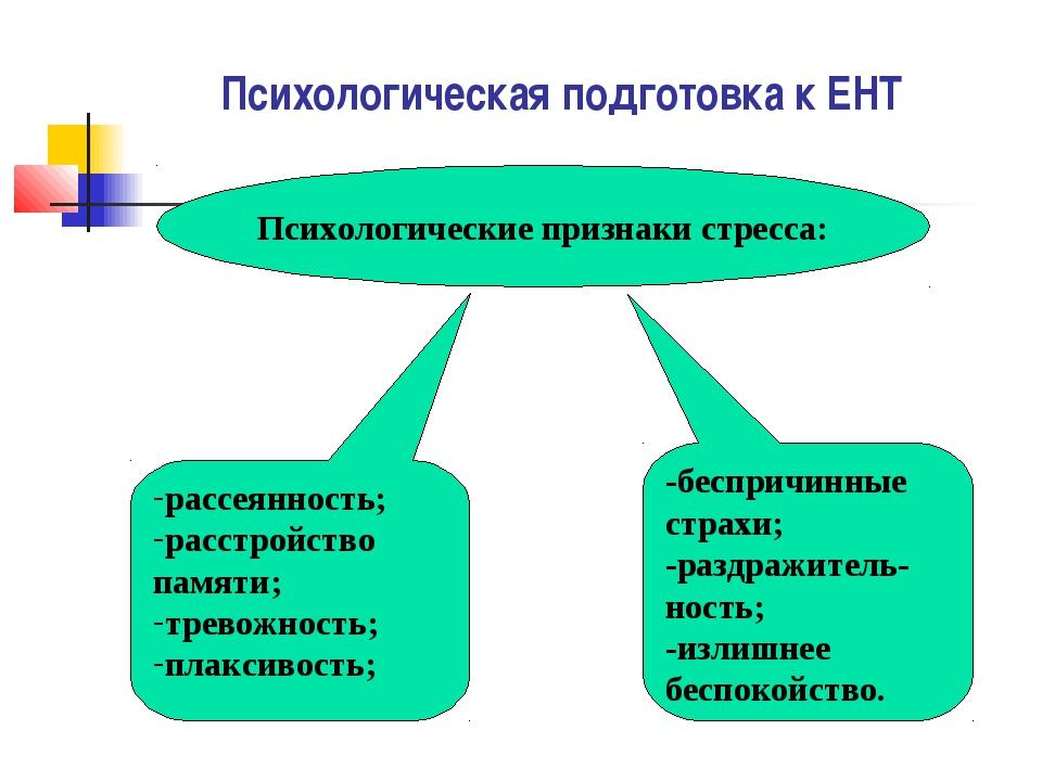 Психологическая подготовка к ЕНТ Психологические признаки стресса: рассеяннос...