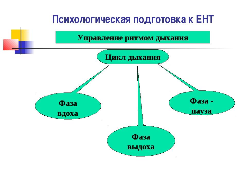 Психологическая подготовка к ЕНТ Управление ритмом дыхания Цикл дыхания Фаза...