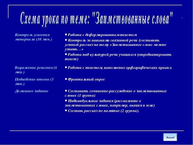 Выход Контроль усвоения материала (10 мин.) Работа с деформированным текстом...