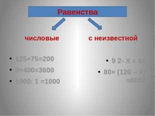 числовые 125+75=200 9×400=3600 1000: 1 =1000 с неизвестной 9 2- Х = 86 80× (