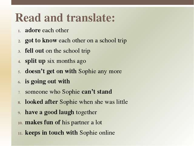 adore each other got to know each other on a school trip fell out on the scho...