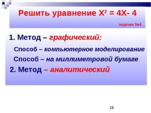 1. Метод – графический: Способ – компьютерное моделирование Способ – на милл