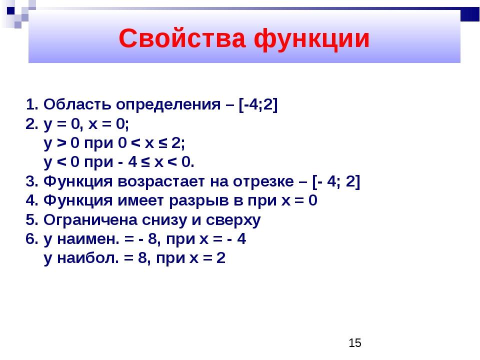 Cвойства функции Область определения – [-4;2] y = 0, х = 0; y > 0 при 0 < x...