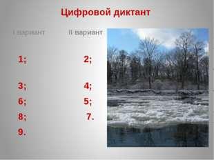 Цифровой диктант I вариант II вариант 1; 2; 3; 4; 6; 5; 8; 7. 9.