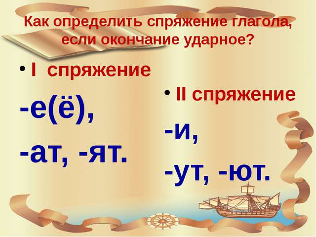 Как определить спряжение глагола, если окончание ударное? I спряжение -е(ё),...