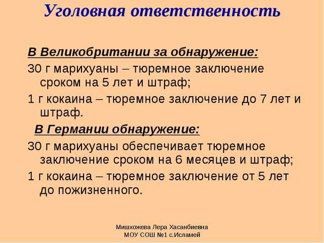 Мишхожева Лера Хасанбиевна МОУ СОШ №1 с.Исламей Уголовная ответственность В В...