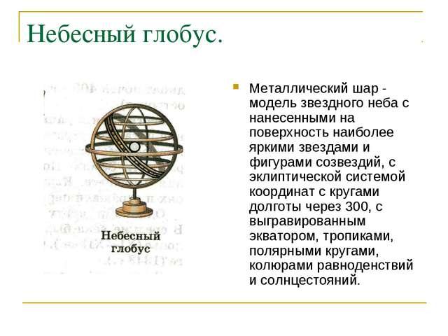 Небесный глобус. Металлический шар - модель звездного неба с нанесенными на п...