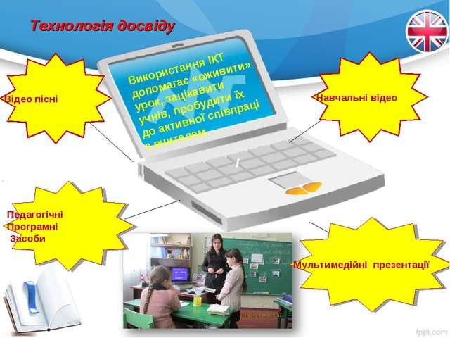 Технологія досвіду І Використання ІКТ допомагає «оживити» урок, зацікавити уч...