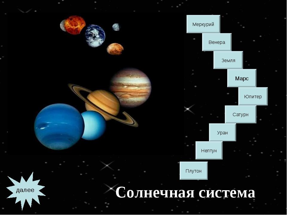 Солнечная система Меркурий Венера Земля Юпитер Сатурн Уран Нептун Марс Плутон...