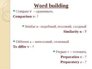 Word building Compare v – сравнивать Comparison n- ? Similar a– подобный, пох