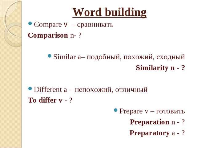 Word building Compare v – сравнивать Comparison n- ? Similar a– подобный, пох...