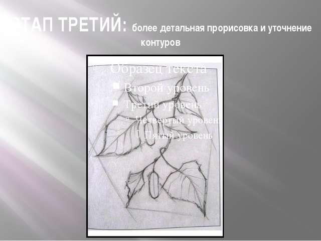 ЭТАП ТРЕТИЙ: более детальная прорисовка и уточнение контуров