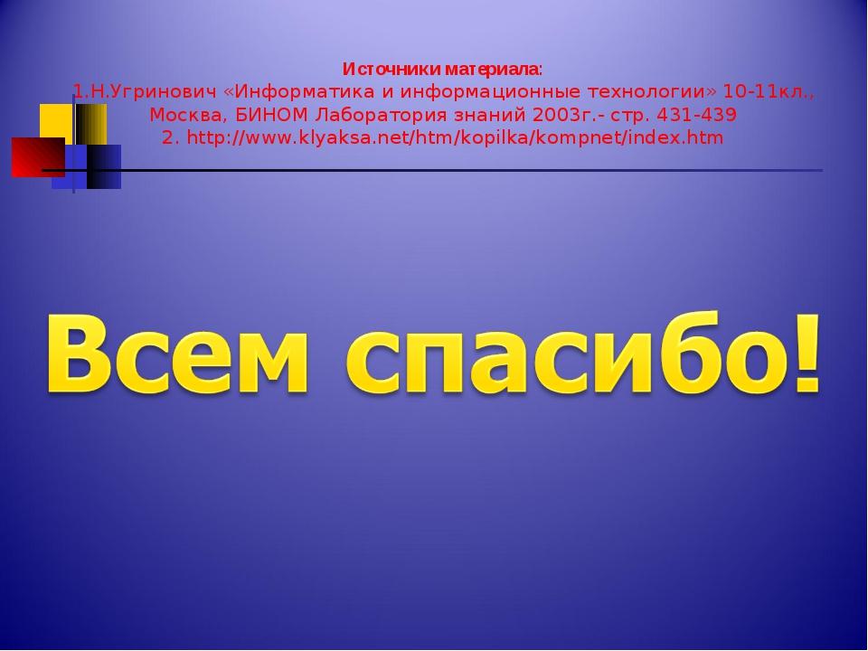 Источники материала: 1.Н.Угринович «Информатика и информационные технологии»...