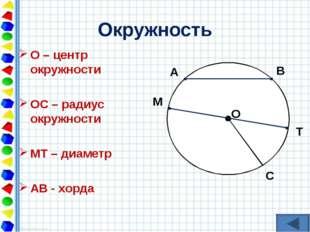 Окружность О – центр окружности ОС – радиус окружности МТ – диаметр АВ - хорд