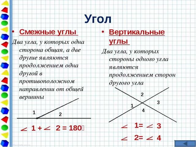 Угол Смежные углы Два угла, у которых одна сторона общая, а две другие являют...