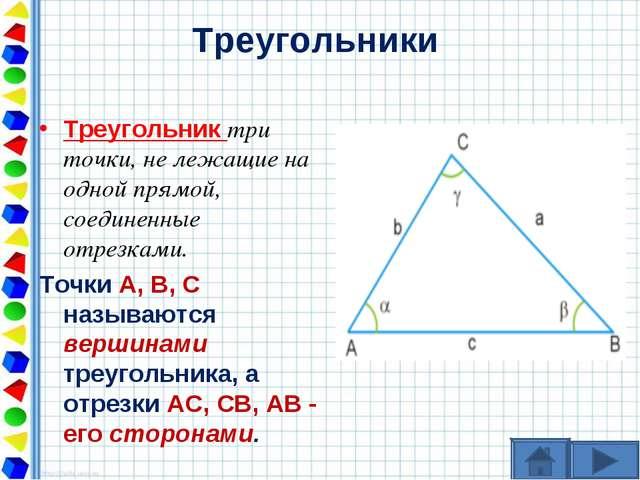 Треугольники Треугольник три точки, не лежащие на одной прямой, соединенные о...