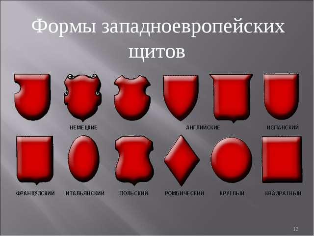 Формы западноевропейских щитов *