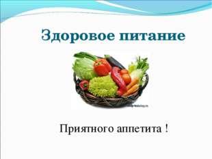 Здоровое питание Приятного аппетита !