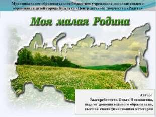 Автор: Выскребенцева Ольга Николаевна, педагог дополнительного образования, в