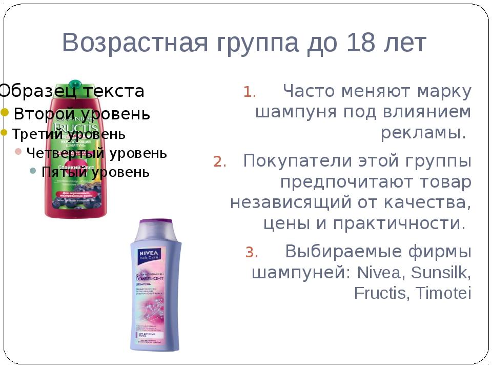Возрастная группа до 18 лет Часто меняют марку шампуня под влиянием рекламы....