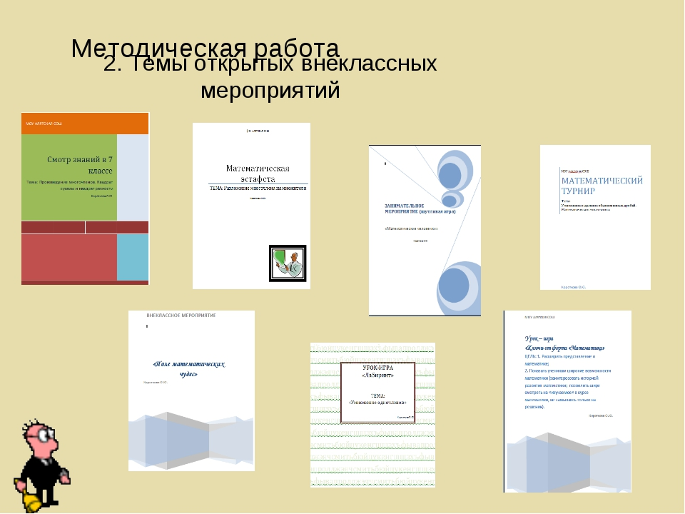 2. Темы открытых внеклассных мероприятий Методическая работа
