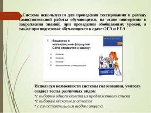 Система используется для проведения тестирования в рамках самостоятельной ра