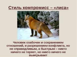 Стиль компромисс – «лиса» Человек озабочен и сохранением отношений, и разреше