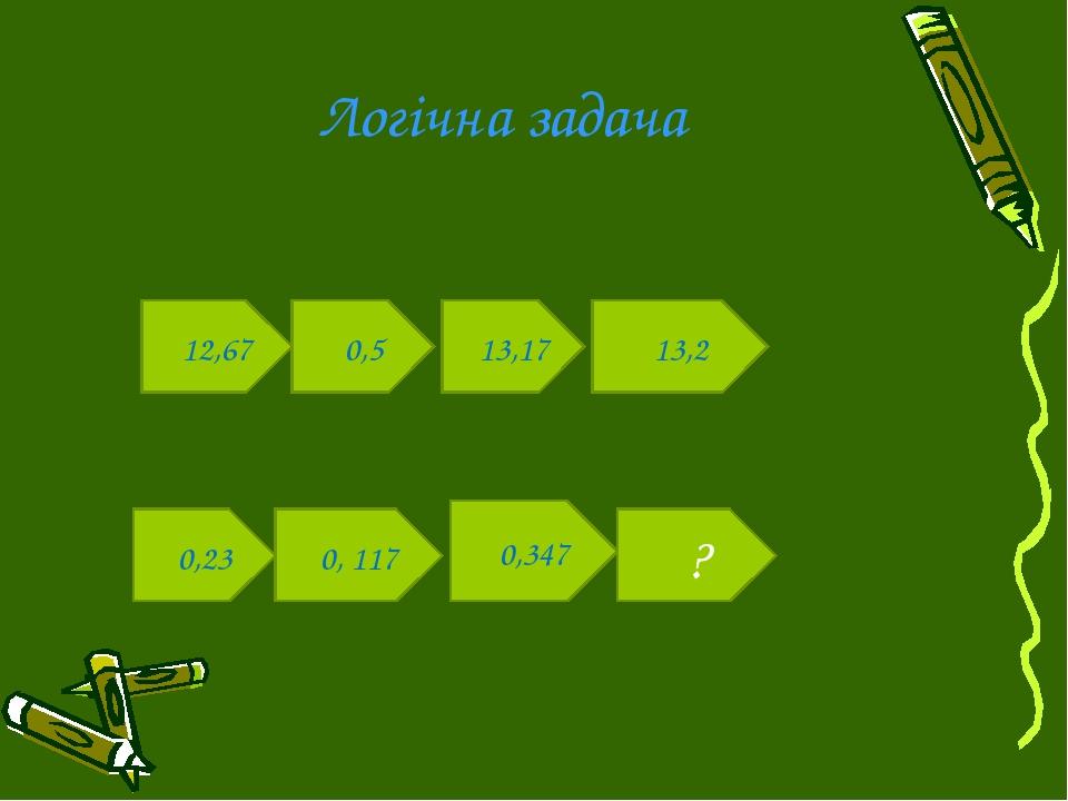 Логічна задача 12,67 0,5 13,17 13,2 0,23 0, 117 0,347 ?