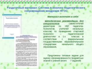 Материал включает в себя: методические рекомендации для специалистов (замест