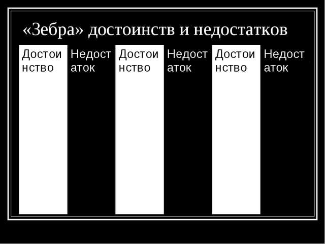 «Зебра» достоинств и недостатков ДостоинствоНедостатокДостоинствоНедостато...